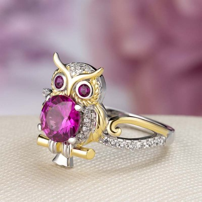 Two-Tone Round Cut Garnet 925 Sterling Silver Owl Ring
