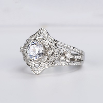 Vintage Floral Round Cut White Sapphire 925 Sterling Silver Halo Engagement Ring