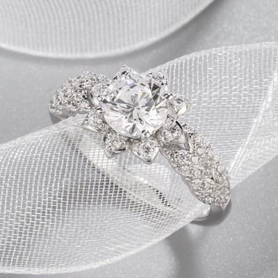Round Cut White Sapphire 925 Sterling Silver Halo Floral Engagement Ring