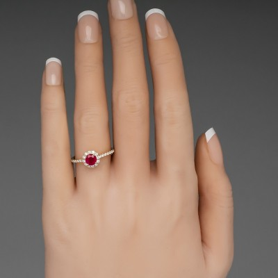 Round Cut Ruby Sapphire 925 Sterling Silver Halo Egagement Ring