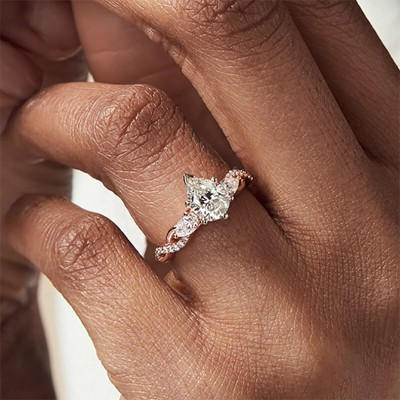 Rose Gold Pear Cut White Sapphire Sterling 925 Silver Twisted Halo Engagement Ring