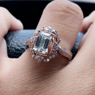 Rose Gold Emerald Cut White Sapphire Sterling 925 Silver Halo Engagement Ring
