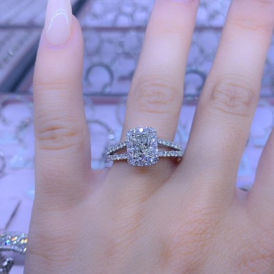 Princess Cut White Sapphire 925 Sterling Silver Double Halo Engagement Ring