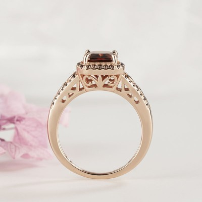 Rose Gold Emerald Cut Chocolate Sterling Silver Halo Engagement Ring