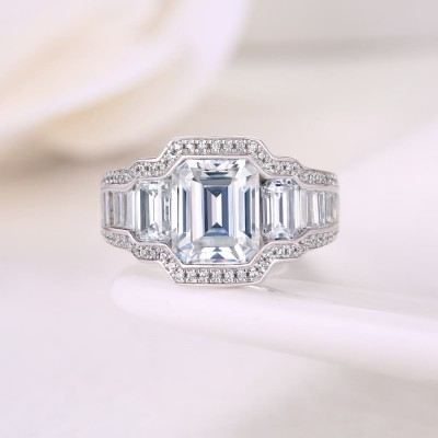 Vintage Emerald Cut White Sapphire Sterling Silver 3-Stone Engagement Ring