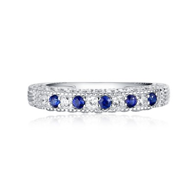 Round Cut Sapphire & White Sapphire S925 Silver Wedding Bands
