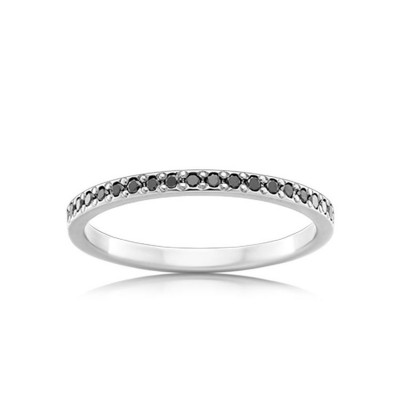 Round Cut Black Sapphire Sterling Silver Women's Wedding Band