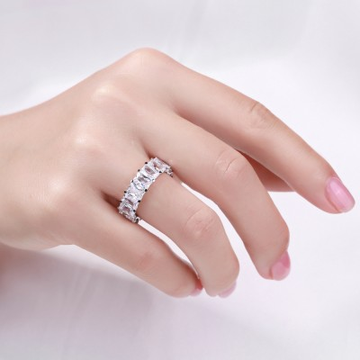 Emerald Cut White Sapphire 925 Sterling Silver Women's Wedding Band