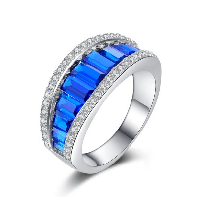 Blue Sapphire 925 Sterling Silver Women's Wedding Bands