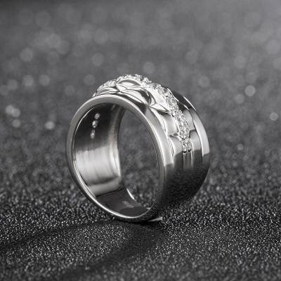 Unique White Sapphire 925 Sterling Silver Eternity Men's Wedding Band