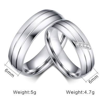Elegent Silver Titanium Steel Promise Ring for Couples