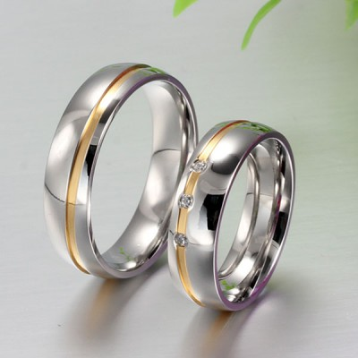 Gold and Silver Titanium Steel Gemstone Promise Ring for Couples