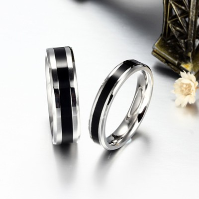 Elegent Black and Silver Titanium Steel Promise Ring for Couples