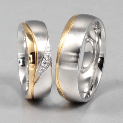 Fashion Gold and Silver Titanium Steel Gemstone Promise Ring for Couples