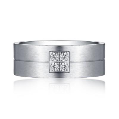 Simple Design Silver Titanium Steel Gemstone Men's Ring