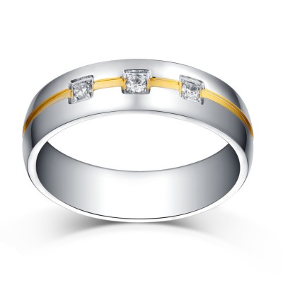 Princess Cut Gemstone Silver and Gold Titanium Steel Wedding/Engagement Ring
