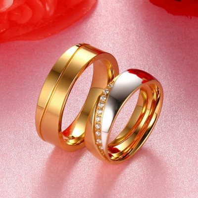 Round Cut White Sapphire Titanium Steel Silver Gold Promise Rings for Couples