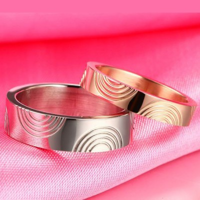 Rose Gold & Silver Titanium Steel Promise Rings for Couples