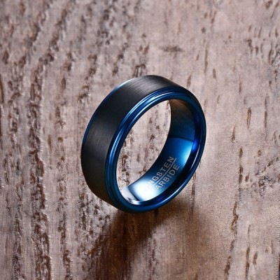 Tungsten Black & Blue Men's Ring
