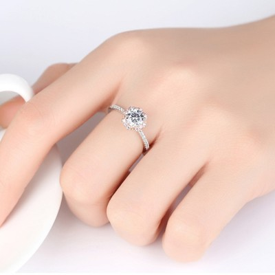 Round Cut White Sapphire 925 Sterling Silver Promise Ring