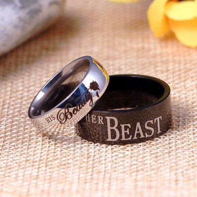 His Beauty Her Beast Black & Silver Titanium Couple Rings