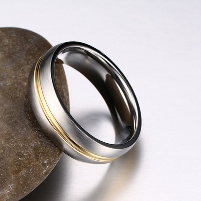 Fashion Comfort Fit Gold Inlay Titanium Men's Ring