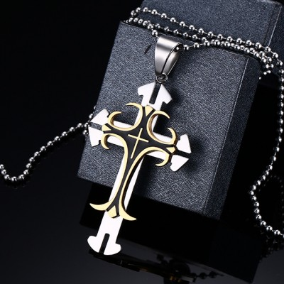 Cool Gold and Silver Cross 925 Sterling Silver Necklace