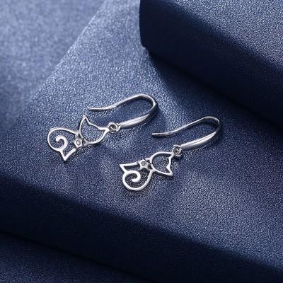 Simple Cat Design 925 Sterling Silver Earrings