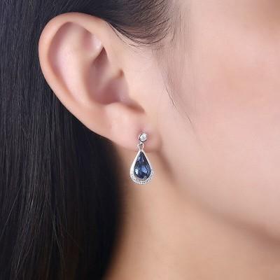 Pear Shape Blue Crystal 925 Sterling Silver Drop Earrings