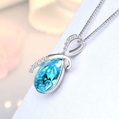 Stylish Blue Crystal Sterling Silver Necklace