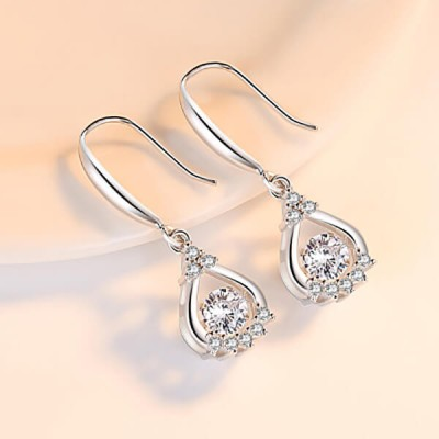 """Beating Heart"" Round Crystal Sterling Silver Drop Earrings"