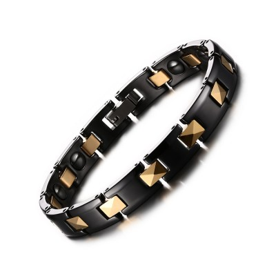 Black and Gold 925 Sterling Silver Chain Bracelet
