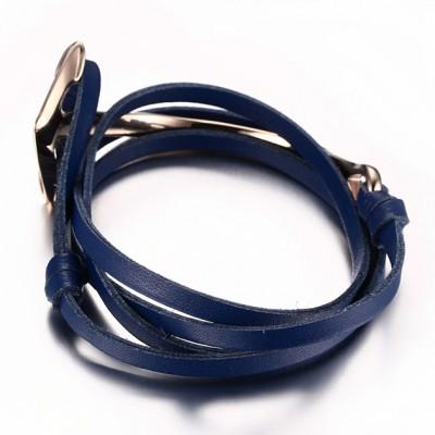 Royal Blue Leather Rose Gold Anchor 925 Sterling Silver Bracelet