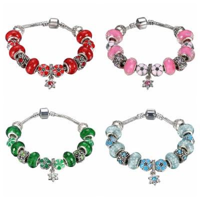 Red/Pink/White/Emerald/Aquamarine Silver Titanium Bracelets