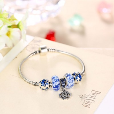 Blue Accessories Flower Pendant S925 Silver Bracelets