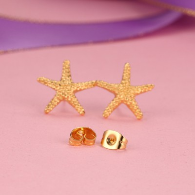 Starfish Design Gold 925 Sterling Silver Earrings