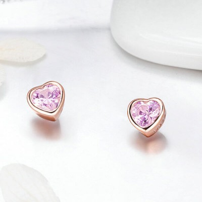 Rose Gold Heart Pink Sapphire Sterling Silver Stud Earrings