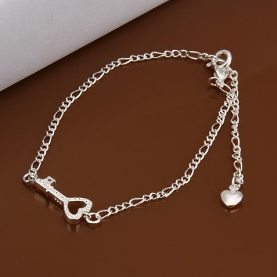 Lovely Silver Key Shape Heart Titanium Anklets