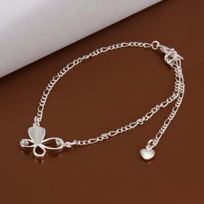 Round Cut White Sapphire Silver Heart Titanium Anklets