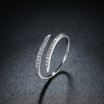 Round Cut White Sapphire S925 Silver Adjustable Size Bands