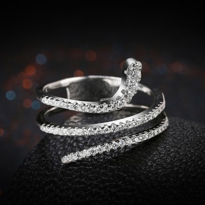 Round Cut White Sapphire S925 Silver Bands Promise Rings