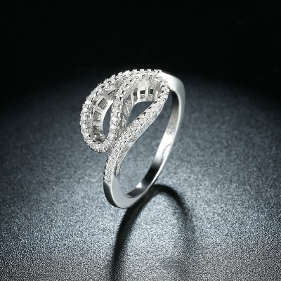 Round Cut White Sapphire Unique S925 Silver Promise Rings