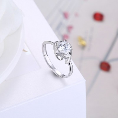Adjustable Size Round Cut White Sapphire S925 Silver Engagement Rings