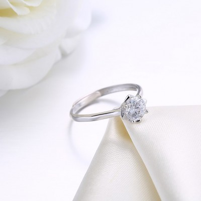 Round Cut White Sapphire S925 Silver Lovely Engagement Rings