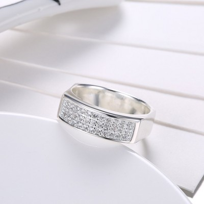 Round Cut White Sapphire S925 Silver Wedding Bands