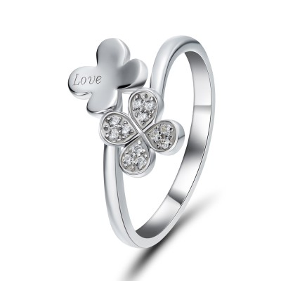 Round Cut White Sapphire Sterling Silver Cocktail Ring