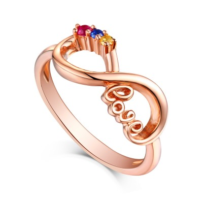 Round Cut Ruby & Topaz Blue Sapphire Rose Gold S925 Silver Infinity Rings
