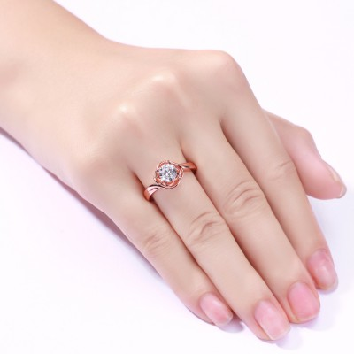 Round Cut White Sapphire Sterling Silver Rose Gold Promise Rings