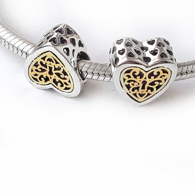 Gold & Silver Heart Charm Sterling Silver
