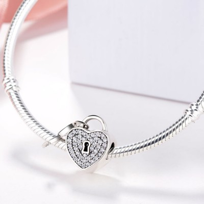Heart Lock & Key Charm Sterling Silver